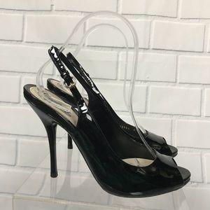 831bd55e949 Gucci Patent Leather Slingback Peep Toe Heels Sz 8
